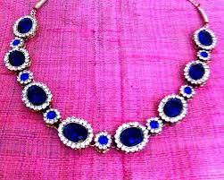 necklace set blue stone images Buy elegant deep blue stone necklace set ethnic india bollywood jpg