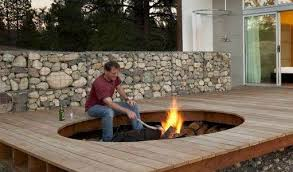 Deck Firepit Outdoor Pit On Wood Deck Johnson Patios Design Ideas Wood
