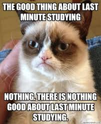 Last Minute Meme - good thing about last minute studying