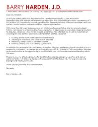 best arbitration representative cover letter examples livecareer