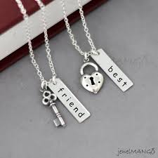 silver best friend necklace images Best friend necklace friendship necklace bff key and lock jpg
