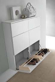 floating white wooden wall mounted shoe racks with cabinet door