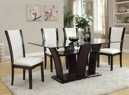 dining room sets leather chairs acme furniture malik contemporary casual dining table w glass top