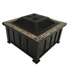slate fire pit table hton bay devonport 30 in x 21 25 in slate fire table in oil