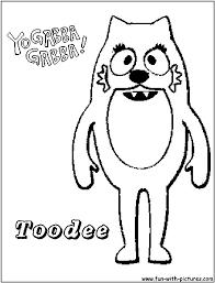 yo gabba gabba toodee coloring pages gabba gabba