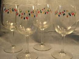 hand painted christmas lights wine glasses funkyhousecreations