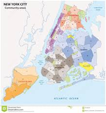 New York Map Districts by New York City Administrative Map Stock Illustration Image 70579594
