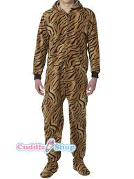 tiger print onesie for adults with baby footed sleeper