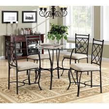 dining table and chairs set kitchen round glass classic metal 5pc