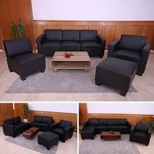 kunstleder sofa schwarz sofa system garnitur lyon 3 1 1 1 kunstleder schwarz