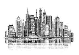 modern city skyline silhouette architecture and buildings hand