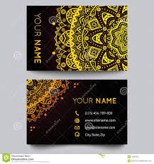 business card template golden pattern on black background stock