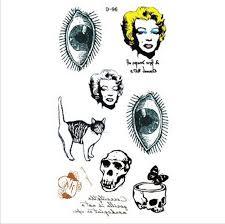 harajuku vintage marilyn monroe eyes ball cat skull tattoo