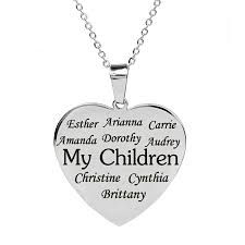personalized heart pendant personalized heart charm family necklace