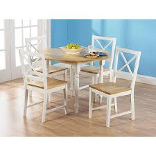 White Drop Leaf Table And Chairs Virginia Round Drop Leaf 5 Piece Dining Set White And Natural