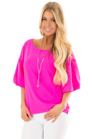 neon blouse neon pink blouse with sleeves lime lush boutique