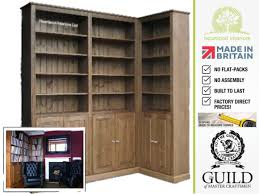 solid pine or oak 8ft tall corner bookcase with doors