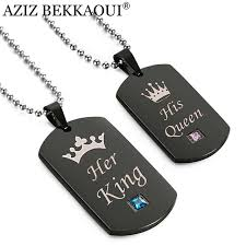 couple necklace images Aziz bekkaoui black stainless steel couple necklaces her king jpg