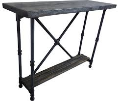 Yukon Console Table Industrial 2 Tier Pipe Console Sofa Hall Table Metal And