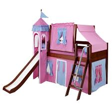 skylar low loft bed with blue and pink castle tent