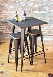 rustic pub set wood bistro sets industrial bar table 3 piece