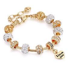 snake chain charm bracelet images I love you quot charm beaded bracelets crystal snake chain charm jpg
