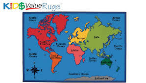 Antarctica World Map by World Map Carpets For Kids