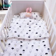 3pcs set baby bedding set cotton crib bedding for newborn black