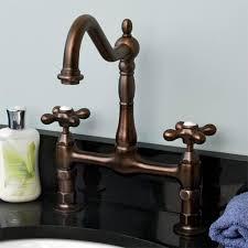 Vessel Faucets Oil Rubbed Bronze Chelsea Bridge Faucet Metal Cross No Overflow Holes Oil
