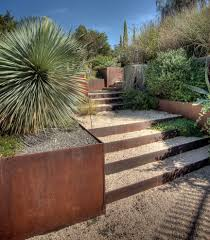 austin steel retaining wall landscape southwestern with steps