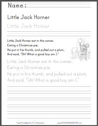 little jack horner nursery rhyme worksheets student handouts