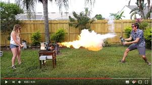 liquid nitrogen freeze ray gun battle a flamethrower