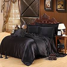 Black Duvet Covers Amazon Com Satin 6 Pcs Silky Bedding Set Queen Duvet Cover