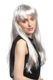 party wig halloween fancy dress cosplay long straight silver grey