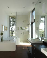 bathroom dark hardwood floors kitchen transitional with gray