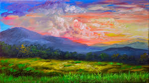 3584 Best Color And Paint by Acrylic Landscape Painting Tutorial Sunset In The Mountains
