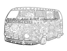 vw voltswagon bus hippie camping printable coloring book