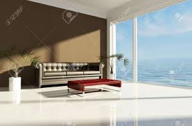 Modern Beach Living Room Modern Beach House With Brown Classic Sofa Rendering Stock Photo