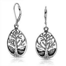 leverback earrings sterling silver tear drop tree of leverback earrings