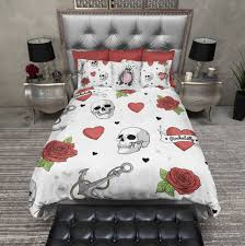Anchor Bedding Set Rockabilly Anchor Skull Duvet Bedding Sets In White Ink