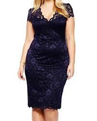 women navy blue scalloped lace plus size midi dress club work