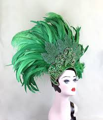 Las Vegas Showgirl Halloween Costume Green Feather Showgirl Headdress Mermaid Costume Las Vegas