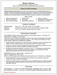 Computer Programmer Resume Objective Cover Letter Programmer Resume Programmer Resume Template Download