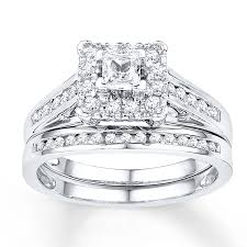 white gold bridal sets diamond bridal set 5 8 ct tw cut 10k white gold
