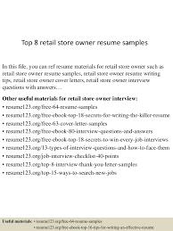 sample retail resumes top8retailstoreownerresumesamples 150723085622 lva1 app6892 thumbnail 4 jpg cb 1437641835