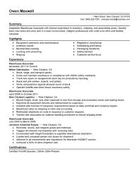 Warehouse Job Resume by Warehouse Helper Resume Manager Goals And Objectives Production
