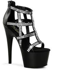 pleaser platform black rhinestone cage ankle boots booties 7