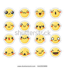 doodle emoticon set lovely kawaii emoticon doodle stock vector 610835231