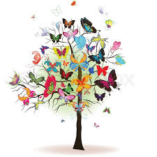 floral tree with butterfly element for design vector