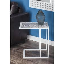 Teal Table L Modern L Shaped Lattice Side Table In White 65658 The Home Depot